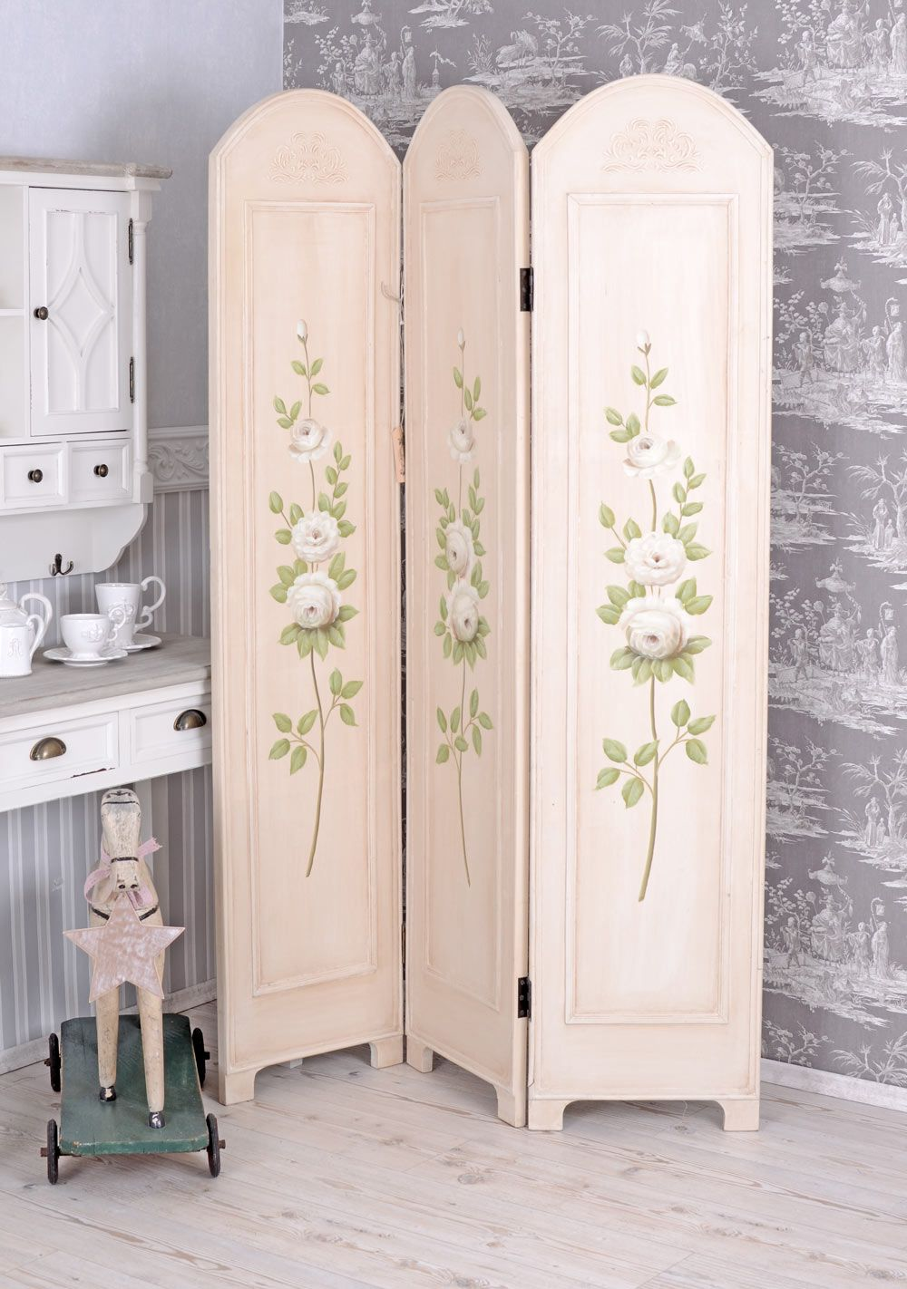 Shabby Chic Room Divider . Paravent . Peach Pink | biombos ...