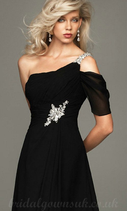Elegant One Shoulder Full Length Beaded Waist Black Vintage Prom ...