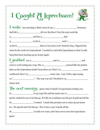 i caught a leprechaun free fill in blank printable story march