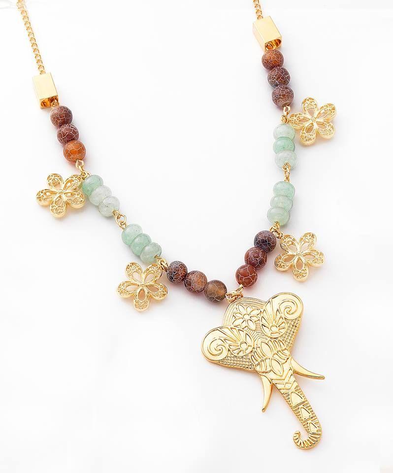 cb009066c401 NICE Regalos hermosos - Atrevido y moderno collar de piedras de agata.  Joyeria con 4 baños en oro de 18 kilates.