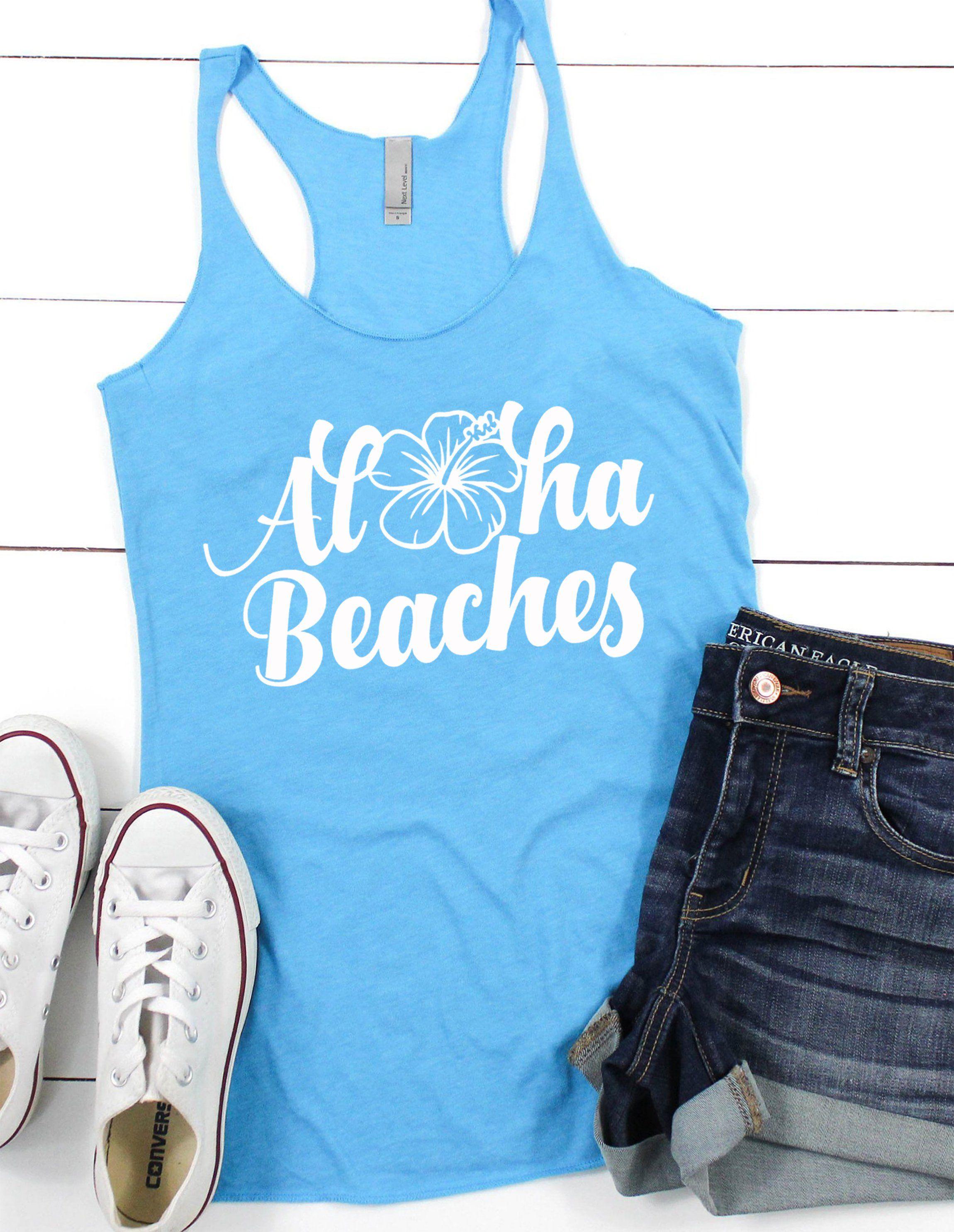 6701fd695f Aloha Beaches Aloha Beaches Tank Top, Summer Beach Trip Tshirt, Vacation  Women Graphic Tee