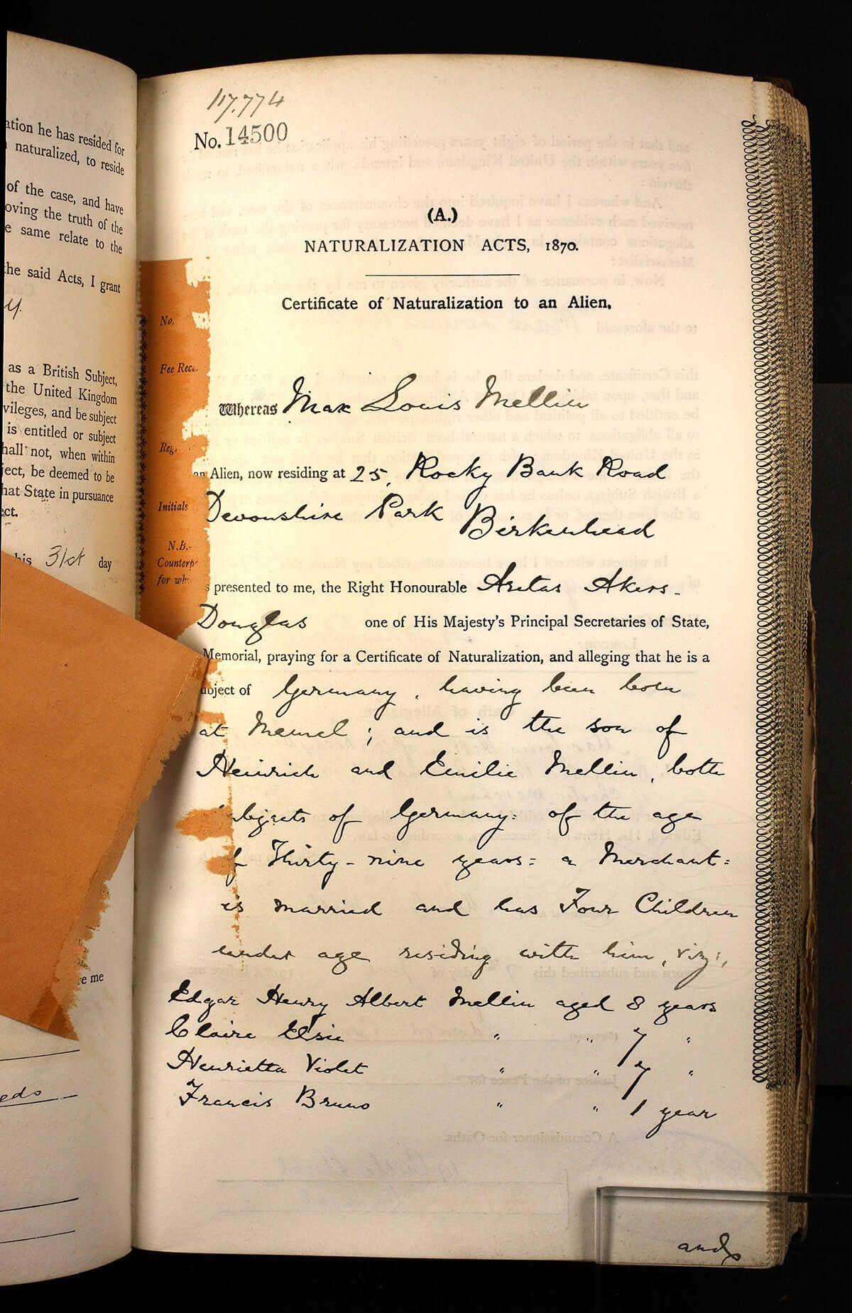 Edgar Henry Albert Mellin Uk Naturalisation Certificates And Declarations 1870 1912 Ancestry Blog Blog Help Family History