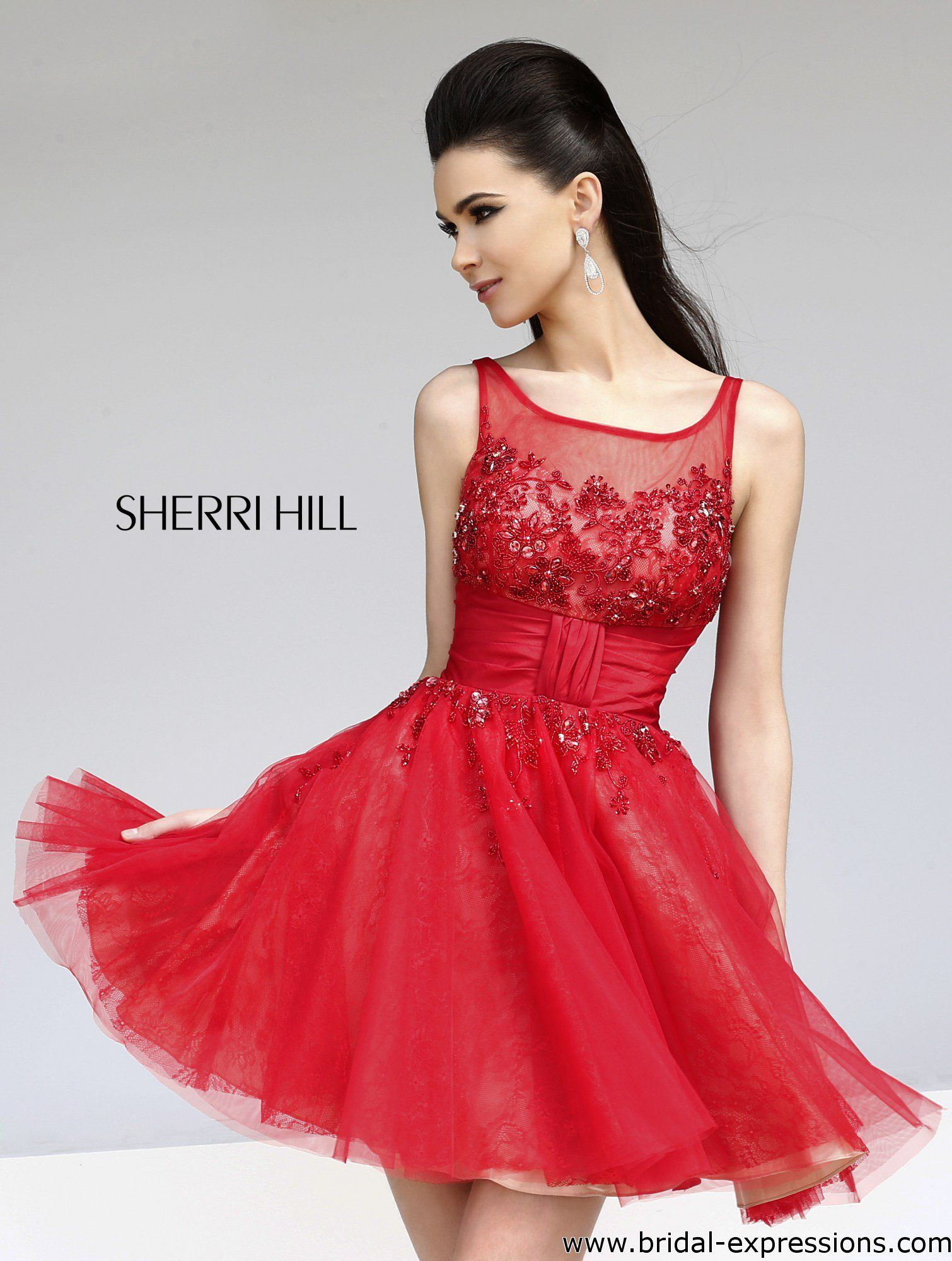 Sherri Hill Short Homecoming Dress, Red/Nude, Black/Nude ...