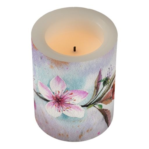 Pink Peach Blossom Watercolor Flameless Candle
