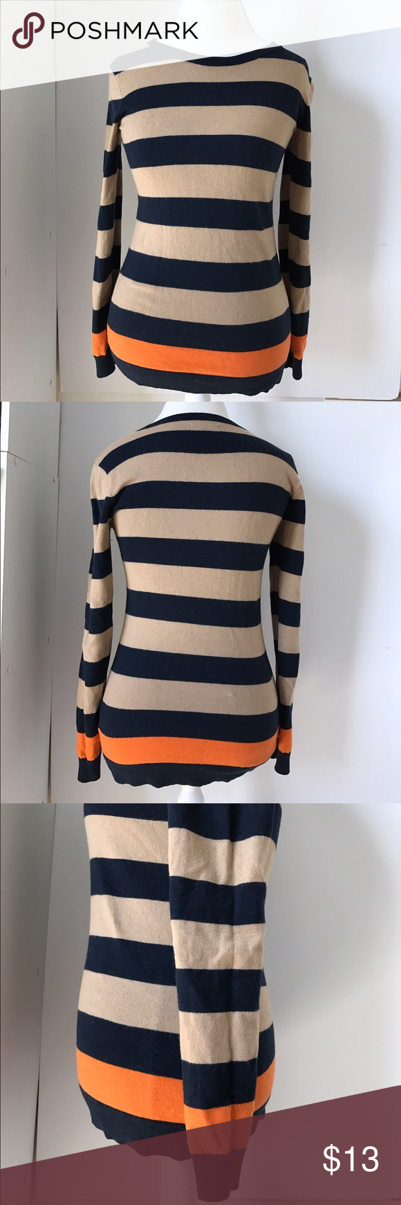 Orange striped sweater | Scoop neck, Navy blue and Conditioning