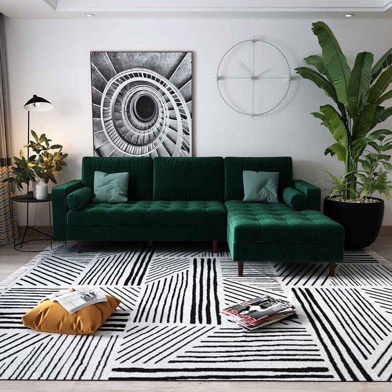 Claude 3 Seater Velvet Sofa With Chaise Dark Forest Green Velvet Sofa Living Room Green Sofa Living Room Living Room Green