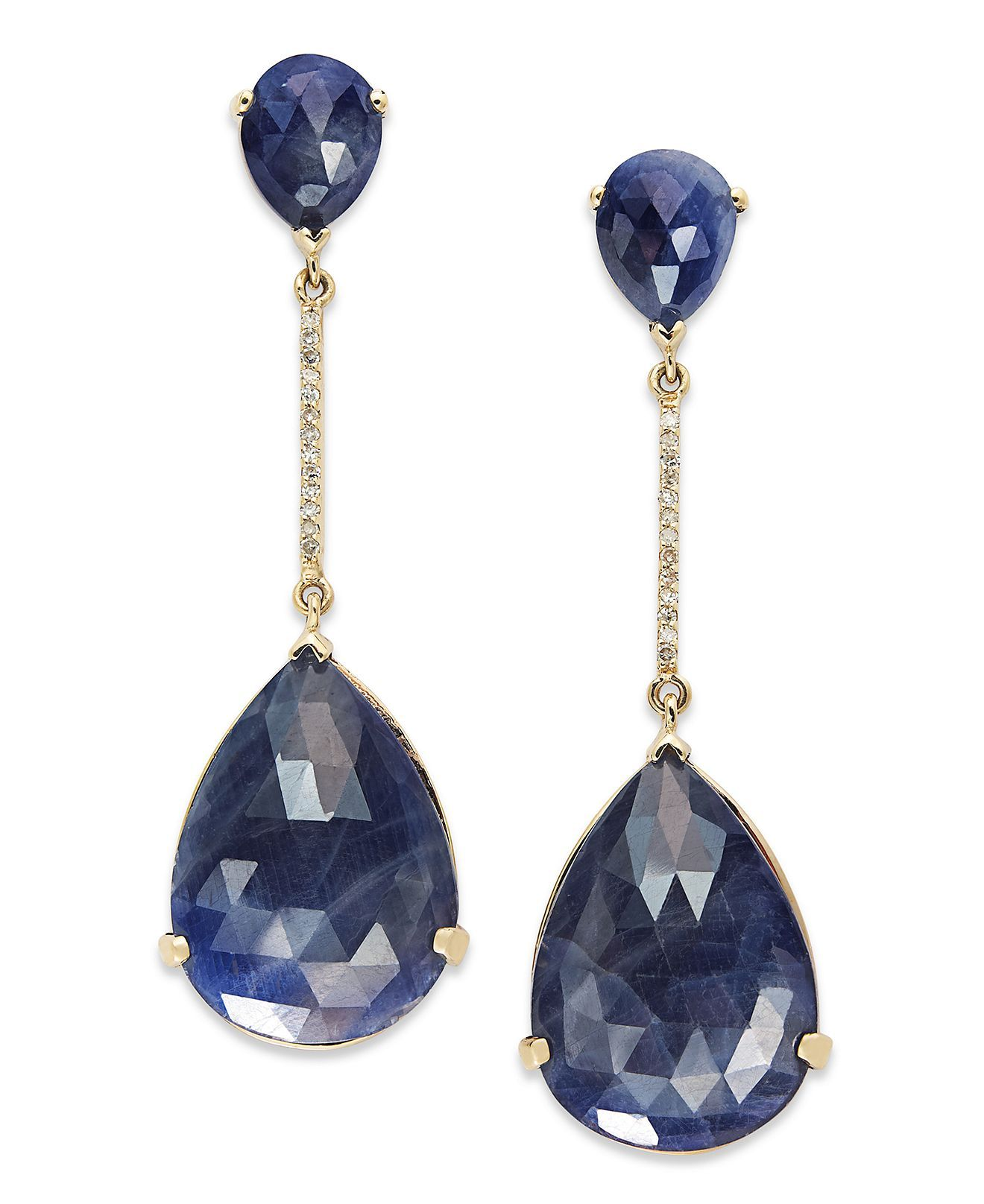 0c0013619 EFFY Collection 14k Gold Earrings, Sapphire (20 ct. t.w.) and Diamond (1/10  ct. t.w.) Pear Drop Earrings - All Effy Jewelry - Jewelry & Watches - Macy's