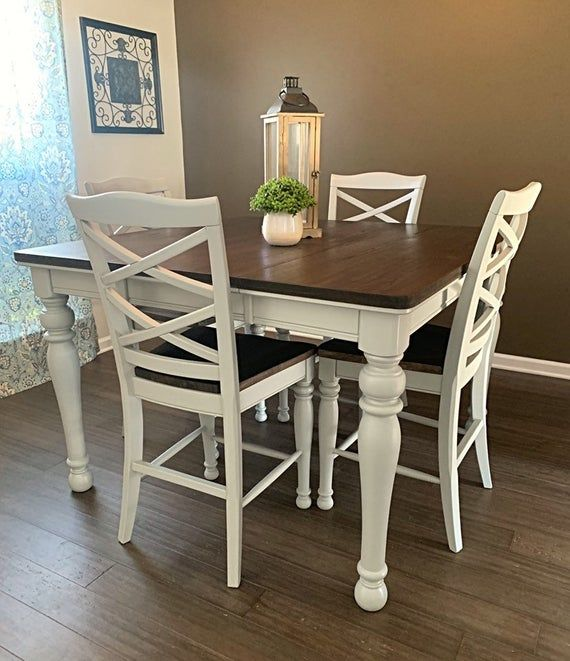 Available Now Sale Price Farmhouse Table Set This Gorgeous Table Has Been Refinished In A Li Refurbished Table Pub Table And Chairs Counter Height Table