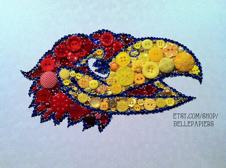Button Art - Rock Chalk, Jayhawk, KU! #buttonart #buttons #swarovski