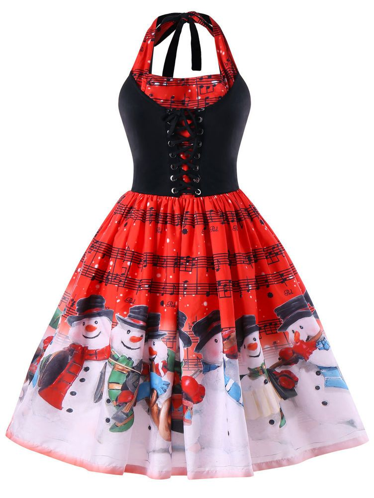 7bc6d2c973f30 Women Santa print Music Notes Snowman Christmas Xmas Party Cocktail Swing  Dress