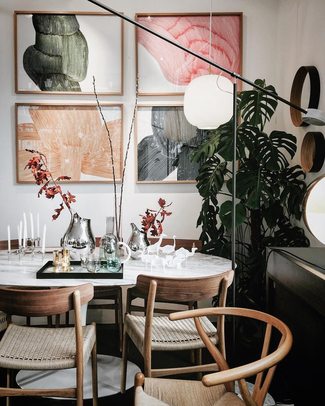 gorgeous colours in dining room with wishbone chairs and quartet of rh pinterest com