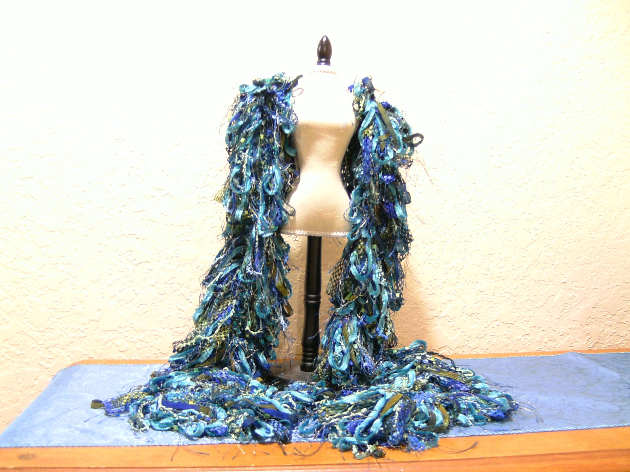 Blue and Green hair pin lace scarf.