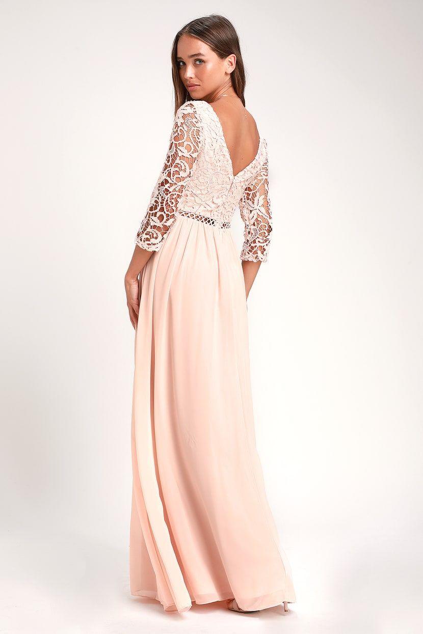 3be452e26c6 Avalynn Blush Three-Quarter Sleeve Lace Maxi Dress