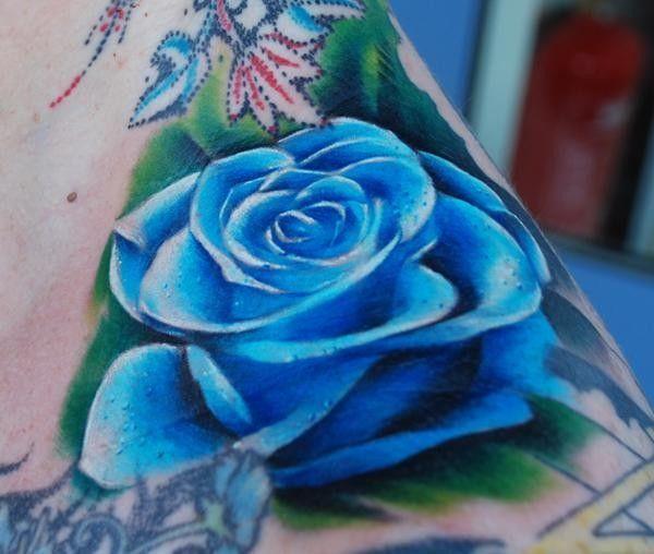 Blue Rose Tattoo In 3d Blue Rose Tattoos Rose Neck Tattoo Rose Tattoos For Women