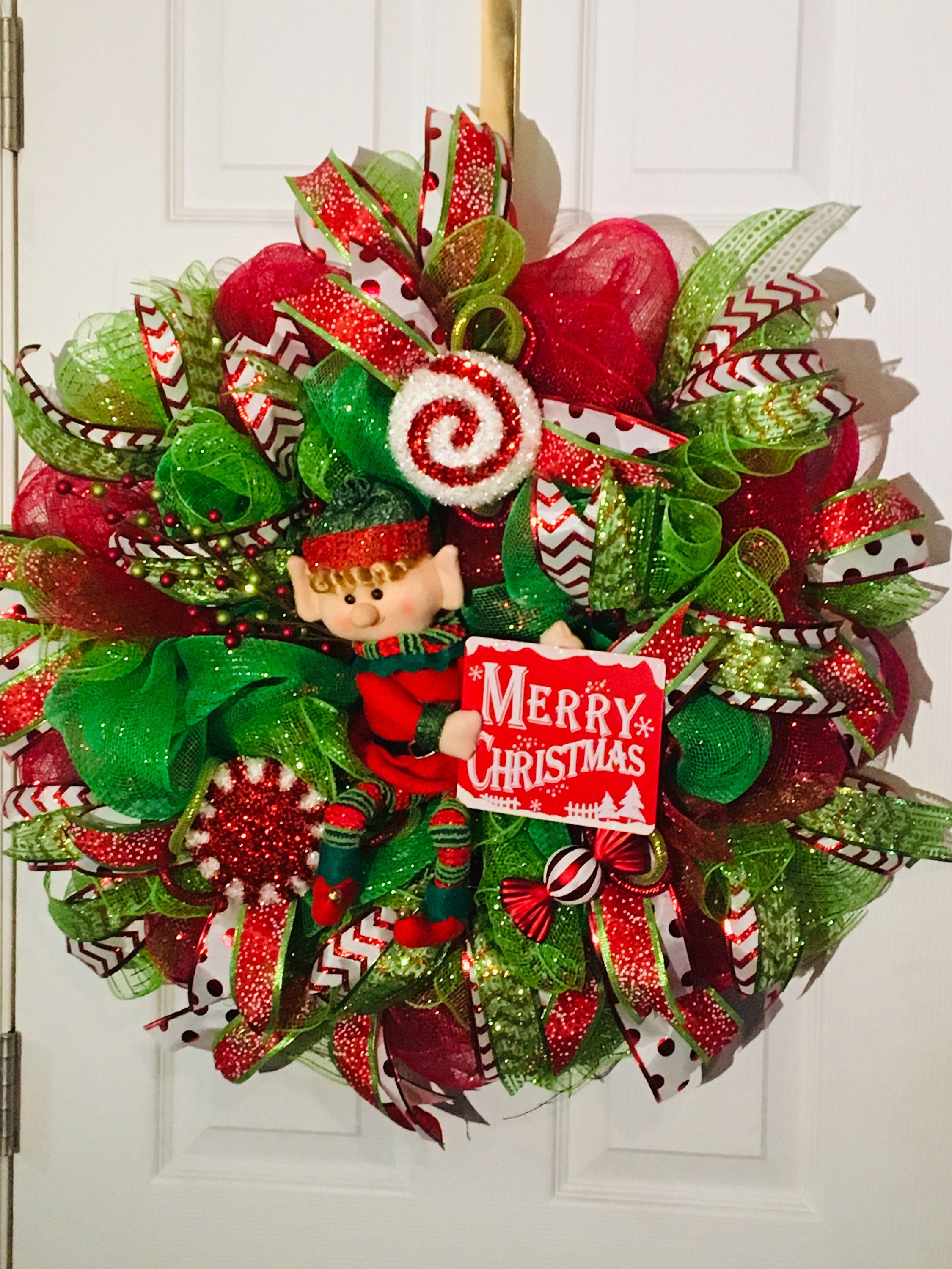 NEW Ready To Ship Christmas Elf Wreath/ Deco Mesh Wreath/ Holiday Decoration/ Front Door Wreath/ Holiday Wreath #decomeshwreaths
