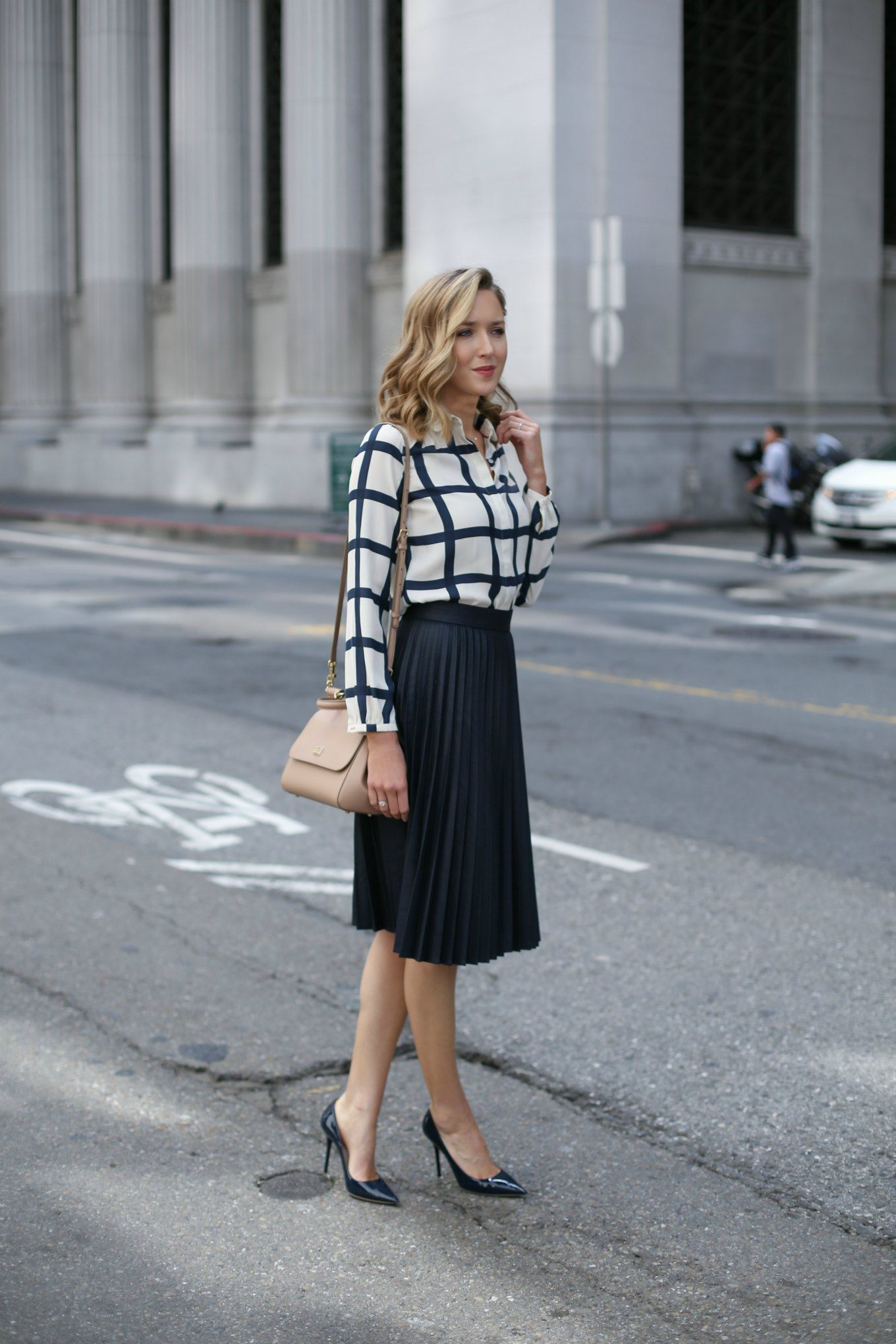 Windowpane Blouse and Pleated Midi Skirt - MEMORANDUM, formerly ...