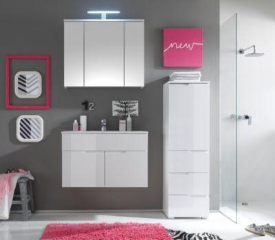 Badezimmer-Set mit Becken weiss Hochglanz Jetzt bestellen unter - badezimmer komplettset