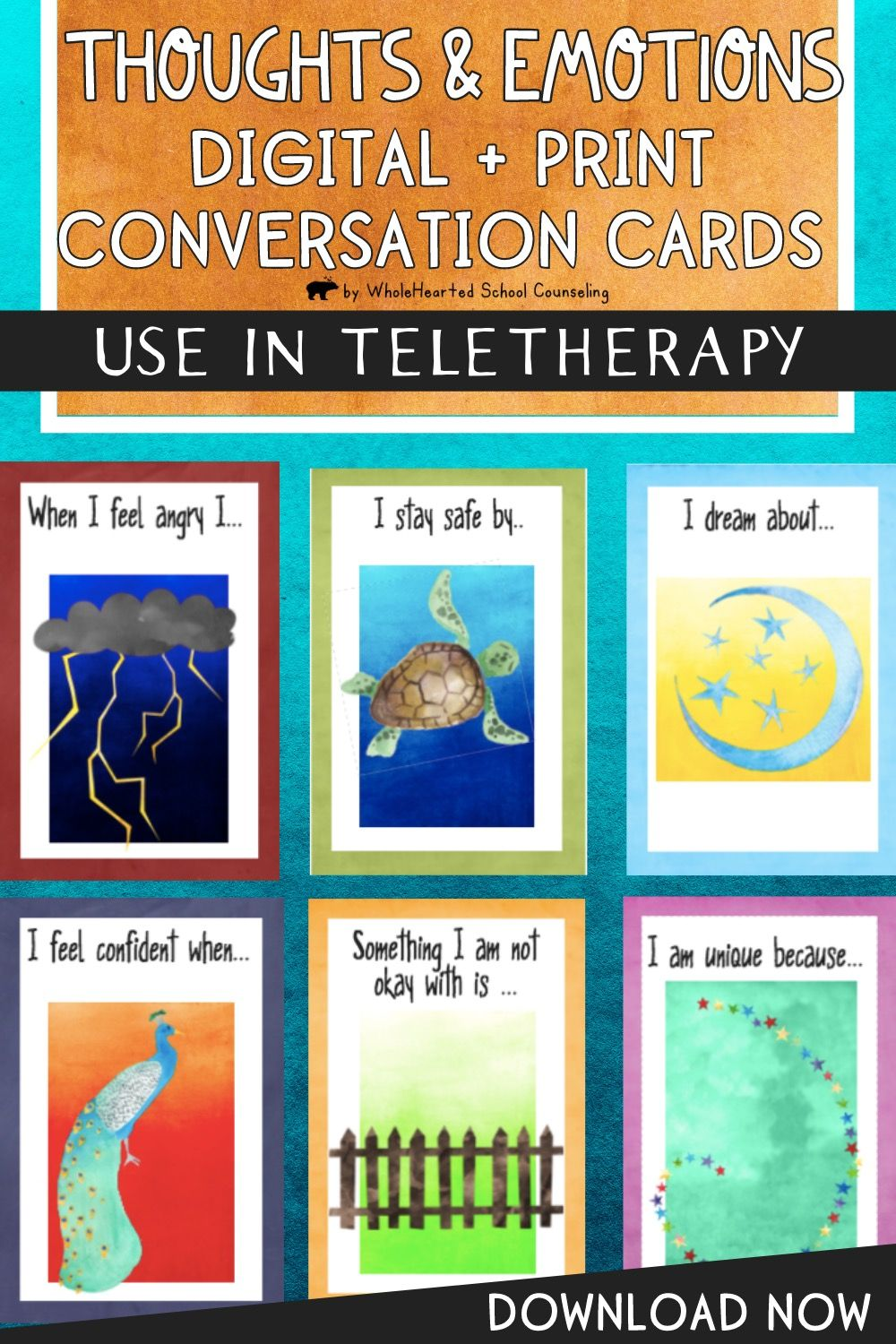 In printable AND digital distance learning ready format, this set of 52 feelings, thoughts, and emotions task cards and google slides journal prompts was designed to help counselors, educators and parents to engage children in expressing their unique voices and stories. The open-ended nature of the sentence completion prompts encourage children to identify and process what they're experiencing, feeling and thinking in their lives, be it changes with family, grief, fears, trauma, anger, goals.