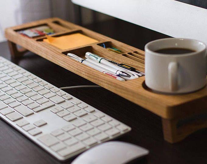 Cherry Wood Office Desk Organizer Desktop Shelf Office