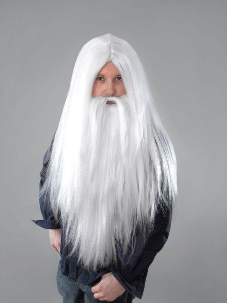 Beard Fancy Dress Costume Mens Santa Halloween Accessory Long White Wizard Wig