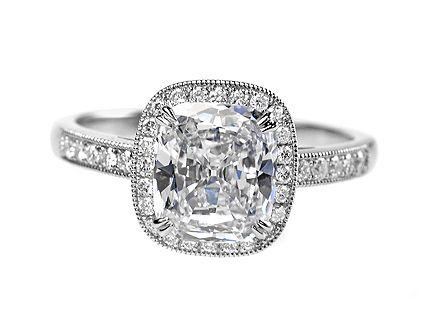 platinum diamond engagement ring with 176ct g vs2 cushion cut httpwww - Platinum Diamond Wedding Rings