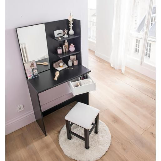 Coiffeuse panneaux de particules noir blanc meuble pour chambre