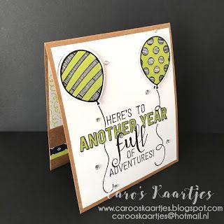 Stampin' Up! Balloon adventures, balloon bouquet punch, Balloon pop-up thinlits, ballonnenkaart, verjaardagskaart, verjaardagskaart met ballonnen, ballonnenkaart, balloon pop up stansen, ballonnenstansen, Lemon Lime twist, kaartrecept, gift card holder, cadeaukaarthouder