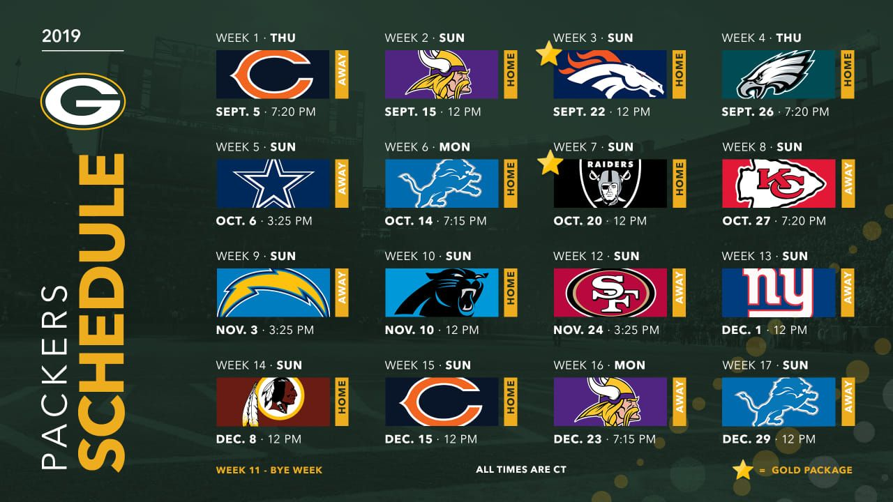 Packers Announce 2019 Schedule Printable Nfl Schedule Packers Schedule Nfl