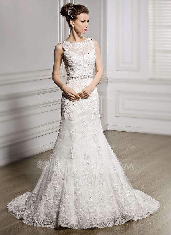 [US$ 258.99] Trumpet/Mermaid Scoop Neck Court Train Tulle Lace Wedding Dress  With Beading Sequins - JJsHouse