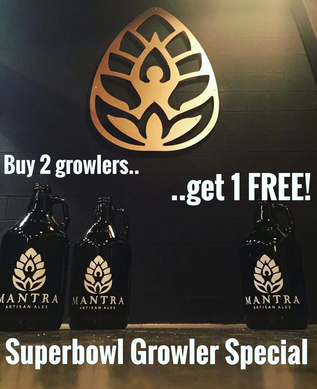 Spice up your #superbowl party!  ALL DAY GROWLER SALE! Buy 2 growlers fills get a third one FOR FREE! (must provide or purchase glassware) MANTRA TAPROOM OPEN 12p-6p today!