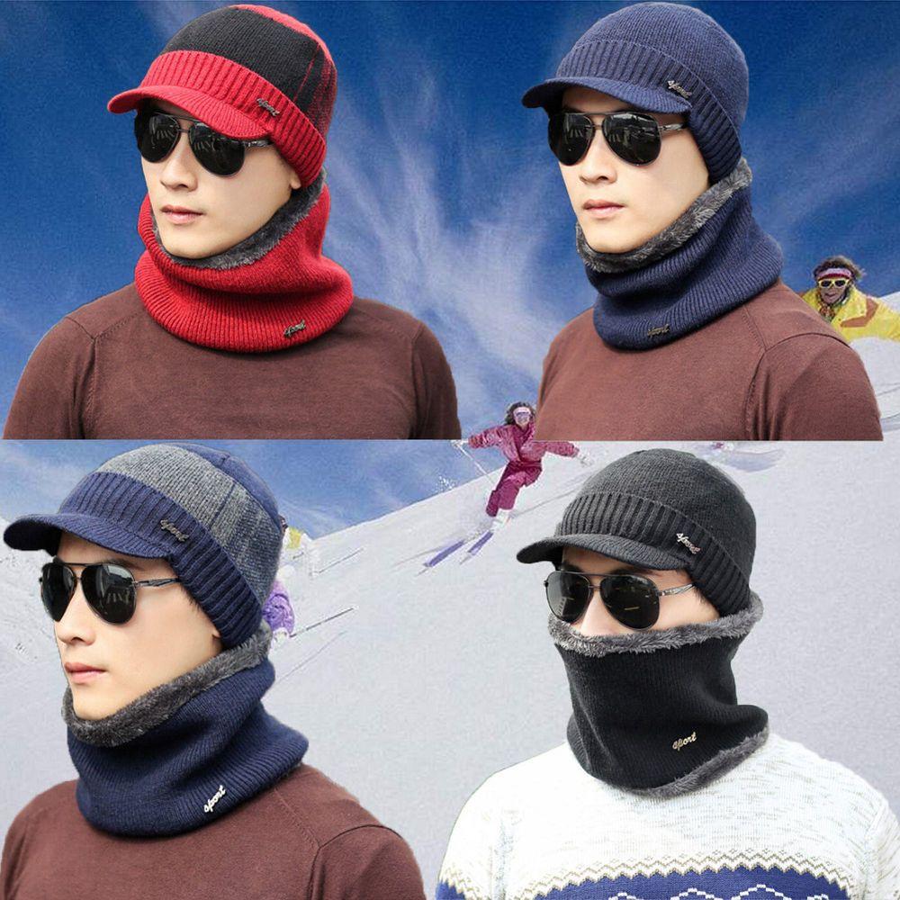 bb91450edcc16 Men Women Winter Warm Crochet Knit Baggy Beanie Wool Skull Hat Ski Cap  Scarf New