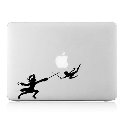 Peter Pan Fighting With Captian Hook Silhouette Abstract Macbook - Inspiring vinyl wall decals abstract