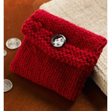 Free Pattern Login Required Gift Pouch Knit Change Purse In Red