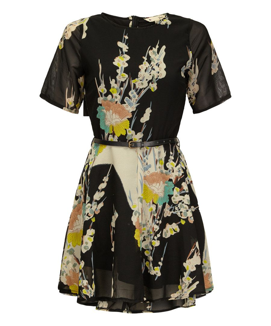 Black yellow floral belted fit flare dress yellow
