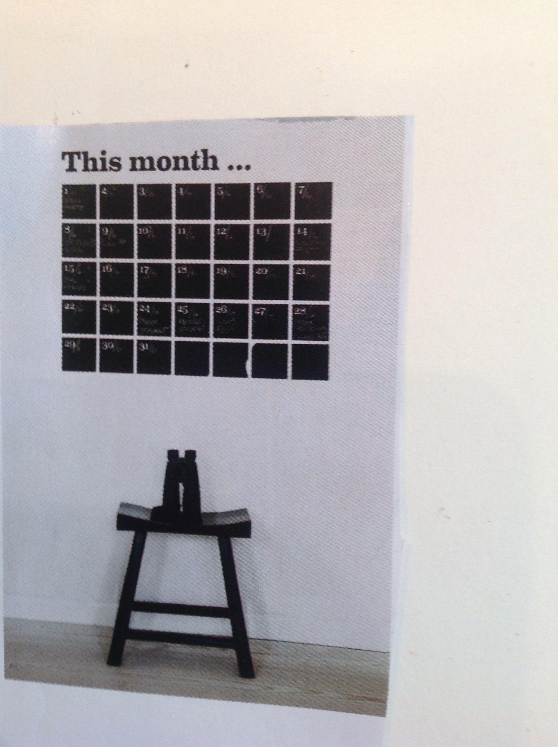 Blackboard paint calendar