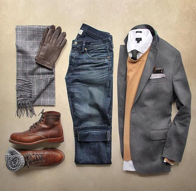 shirt, sweater, blazer, jeans, scarf, boots