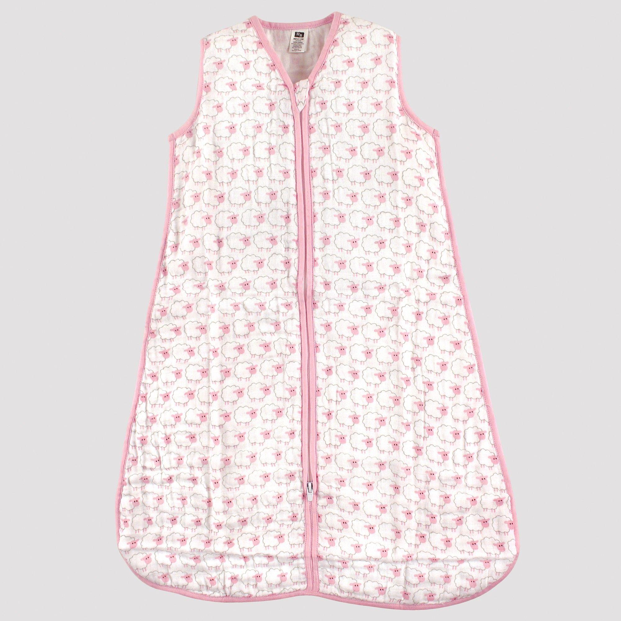 uk availability 24fd7 0f508 Hudson Baby Safe Sleep Wearable Muslin Sleeping Bag - Pink ...