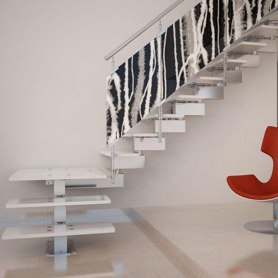 escalier quart tournant limon central marches en verre teint garde corps personnalisable. Black Bedroom Furniture Sets. Home Design Ideas