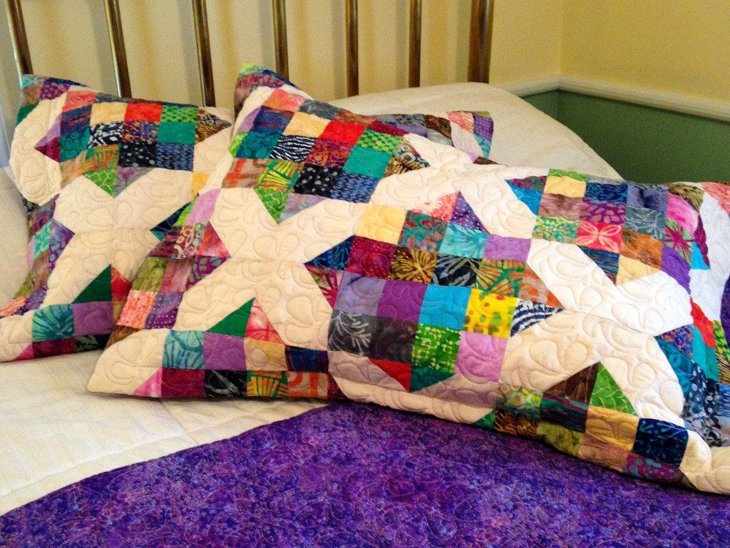 Quilted Pillow Sham in Batik Crossroad Pattern, Two Colorful ...