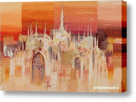 Cuadro Ciudades Luigi Florio Milano Al Tramonto   pinturas ...
