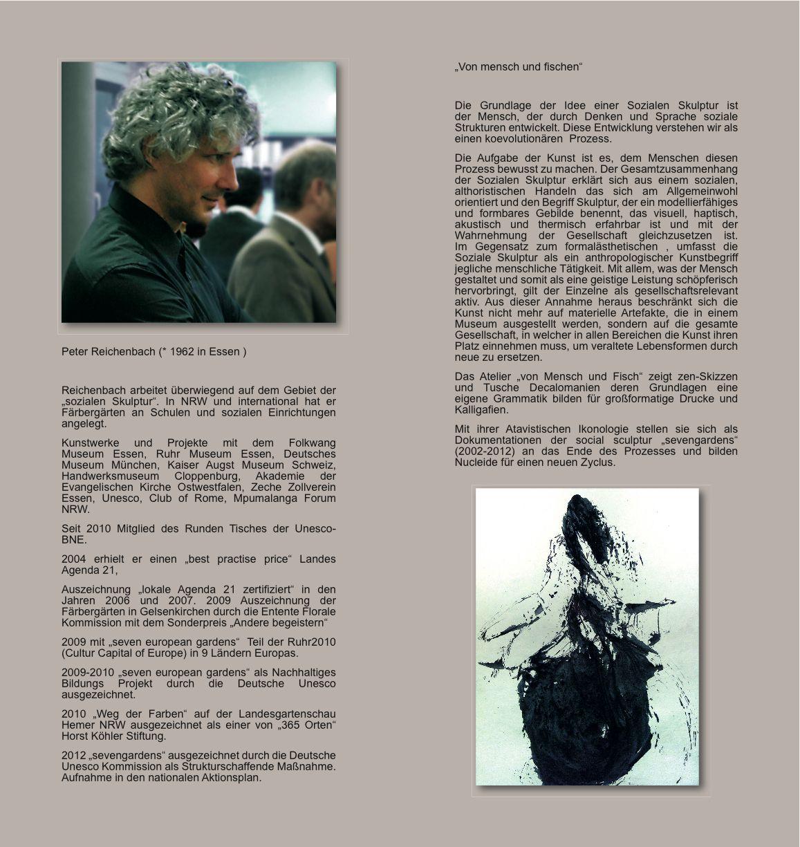 flyer über den Künstler Peter Reichenbach. Ausstellung Kaligrafien ...