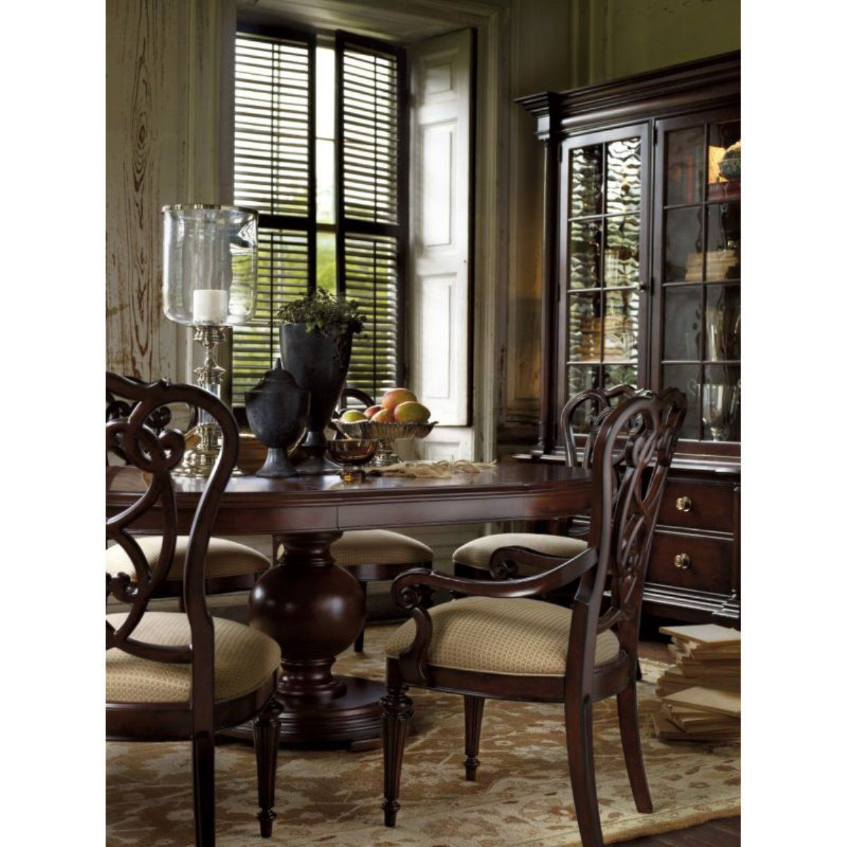 Stanley Furniture City Club 5Piece Private Room Pedestal Table Fascinating Stanley Furniture Dining Room Set Decorating Inspiration