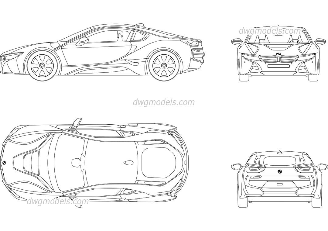 Bmw I8 Cad Blocks Free Dwg File Vehicle Blueprint Pinterest