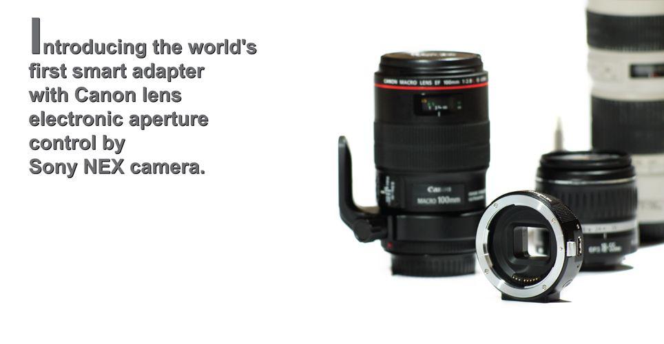 Adaptador de objetivos Canon EF a Montura de Sony NEX con control electrónico de apertura... interesante...