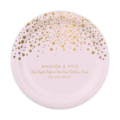 Stylish Gold Confetti Dots on Pale Pink Design Paper Plate Gold - confeti