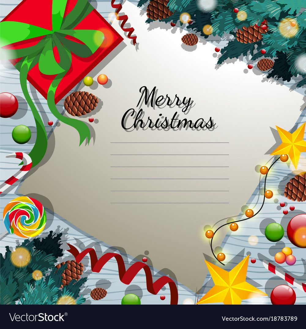 Merry Christmas Card Template With Present And Pertaining To Adobe Illustrator Chris Merry Christmas Card Christmas Card Templates Free Christmas Card Template