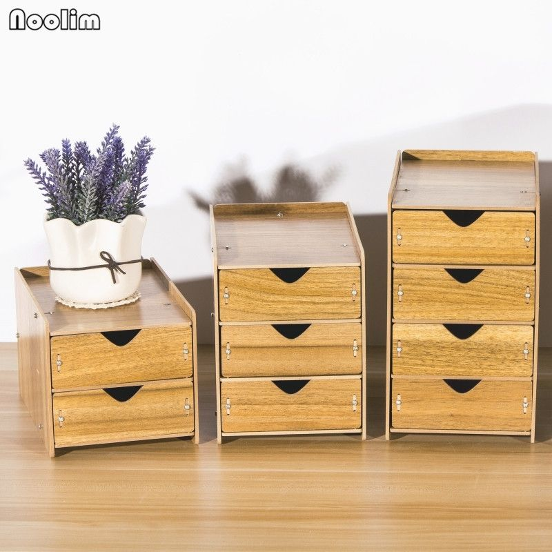 Noolim Drawer Organizer Box Wooden Storage Boxes With Drawers Divider Home Desk Organizer Desktop Wooden Desk Organizer Wooden Storage Boxes Desk Organization