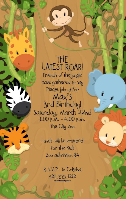 Around the Jungle Invitation - A fun animal themed invitation ...
