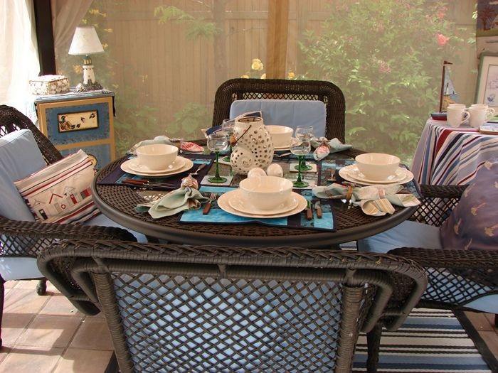 Great Dining Outdoors In Canopy Screened Room Featured On Between Naps On The  Porch