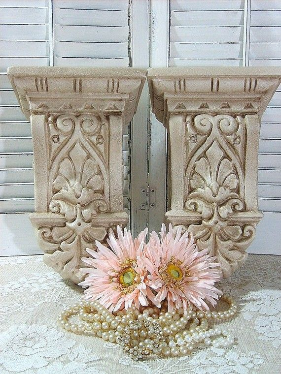 Set of 2 curtain rod holders corbels sconces wall decor shabby cottage chic upcycled paris - Shabby chic curtain poles ...